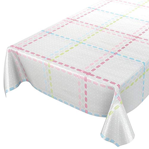 ANRO wasdoek tafelkleed wasdoek wastafelkleed tafelkleed afwasbaar lichtgrijs textiellook ruit 160 x 140cm