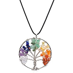 SevenMye Tree of Life Crystal Tumbled Gemstone Pendant Necklace,45cm Wax Leather Cord,Retro Copper Wire Wrap Gemstone Jewelry for Women Girls Mothers Day Gifts:Downloadlagump3gratis