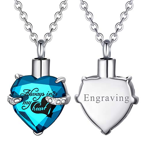 FaithHeart Collar Personalizado Corazón Urna de Cremación Vidrio Joyería Memorial Contenedor de...