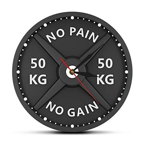 xinxin Reloj de Pared No Pain No Gain 50Kg Barbell 3D Moderno Levantamiento de Pesas Mancuerna Bodybuilding Gimnasio Entrenamiento Strongman Gift