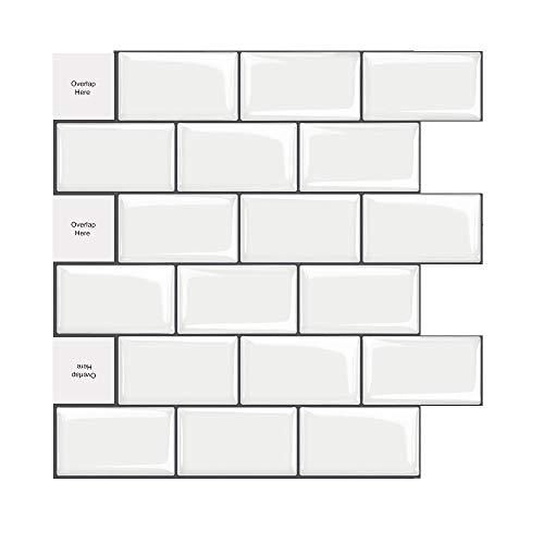 5 Stück Fliesenaufkleber Selbstklebende Fliesendekor Aufkleber Backstein Mosaik Wallpaper 3D Aufkleber Küchenschränke Badezimmer Kamin Bodentreppe Abnehmbar Wasserdicht für Küche und Bad 30.5*30.5cm