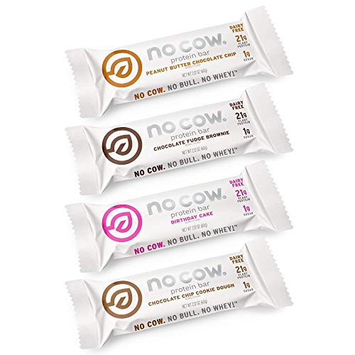 No Cow Protein Bars, Trial Pack - Best Sellers, 20g+ Plant Based Vegan Protein, Keto Friendly, Low Sugar, Low Carb, Low Calorie, Gluten Free, Naturally Sweetened, Dairy-Free, Non-GMO, Kosher, 4 Pack