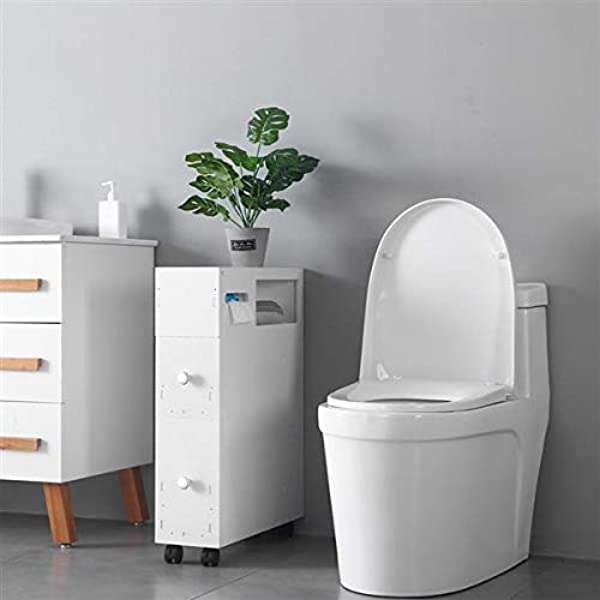 White Narrow Wood Bathroom Floor Storage Cabinet With 4 Slide Out Wheels 2 Drawers Rolling Corner Bathroom Cabinet With Newspaper Magazine Tissue Holder Free Standing Toilet Organizer Storage Shelves