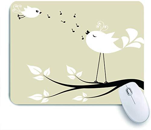 Marutuki Gaming Mouse Pad Rutschfeste Gummibasis,Vögel Zwei Vögel auf einem Zweig singen Liebeslieder Freund Valentine Paar Hoffnung Leben,für Computer Laptop Office Desk,240 x 200mm