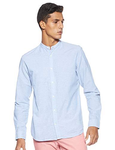 JACK & JONES Herren JJESUMMER Band Shirt L/S NOOS Freizeithemd, Blau (Infinity Fit: Slim Fit), Large (Herstellergröße: L)