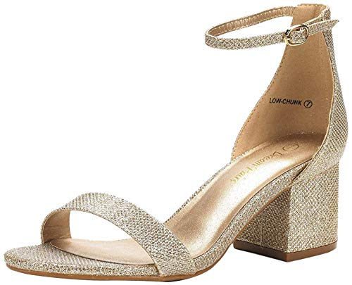 DREAM PAIRS Women's Low-Chunk Gold Glitter Low Heel Pump Sandals - 9 M US