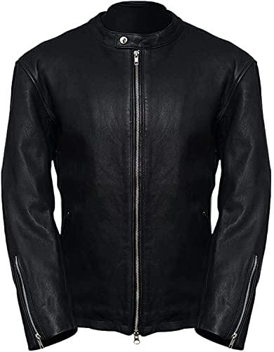 Moto Racer - Chaqueta de piel de cordero para hombre, chaqueta de cuero para hombre, estilo vintage, cremallera de moda