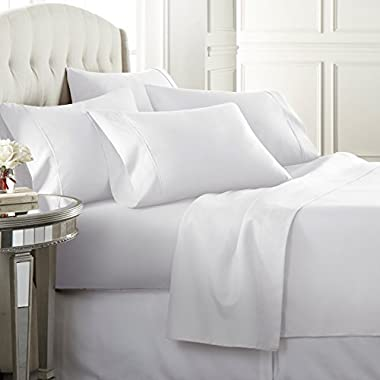 Danjor Linens 6 Piece Hotel Luxury Soft 1800 Series Premium Bed Sheets Set, Deep Pockets, Hypoallergenic, Wrinkle & Fade Resistant Bedding Set(Queen, White)