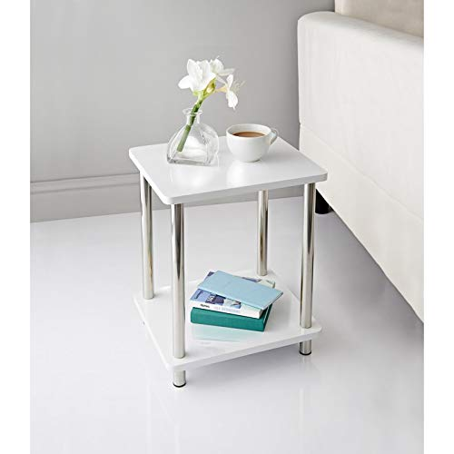 White High Gloss 2 Tier Shelf Unit With Stainless Steel Legs Living Room Decor Side/End Table