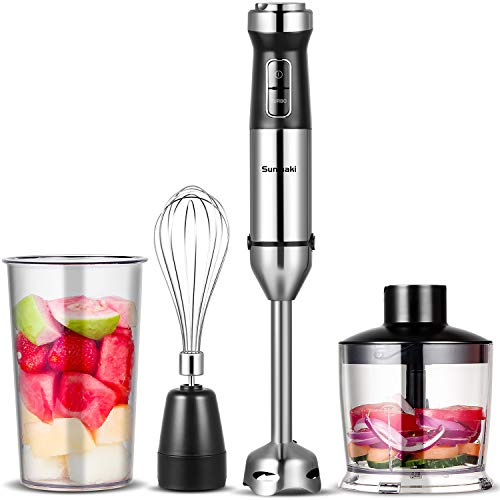 Sunmaki Immersion Hand Blender, 4-in-1 Stick Blender Set with an Electric Stainless Steel Mixer, an Egg Whisk, a 500ml Food Chopper and an 800ml Beaker Container, Great for Making Vegetable Meat, Puree Baby Food, Smoothies, Sauces and Soups
