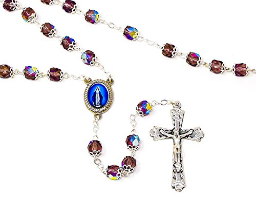 Catholic Gift Shop Ltd Rosario con Cuentas de Cristal de Amatista milagrosa, Medalla de la Virgen de la Gracia - Rosario católico y Tarjeta de oración de Lourdes