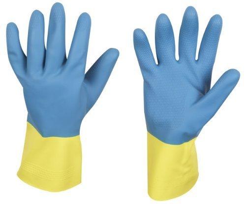 stronghand Gants en caoutchouc industriels KENORA, bleu/jaune, taille 8, convient pour un usage alimentaire et résistant aux produits chimiques
