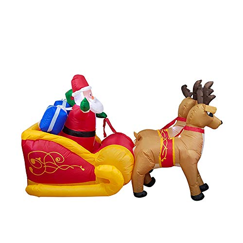 ALEKO CHID002 Inflatable Santa in a Gift Stuffed Sleigh Led by Reindeer with a UL Certified Blower Holiday Christmas 7 Foot, Christmas Décor, LED Outdoor Christmas Decorations
