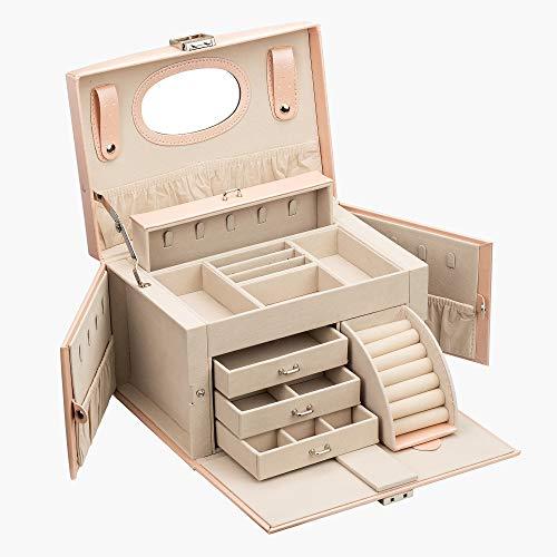 ADEL DREAM - Joyero grande con cerradura, 5 niveles con 5 cajones, con espejo, para anillos, pendientes, collares y pulseras, elegante y clásico