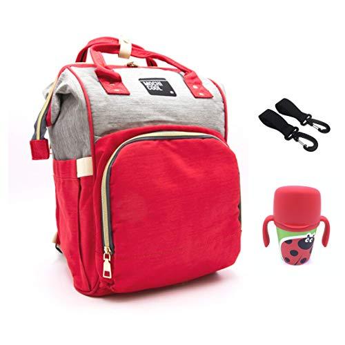 MOCHI COOL Mochila maternidad bebe para pañales, biberones y apta para carro bebe, mochila bolso carro bebe cuna, impermeable pañalera - Bolso de viaje gran capacidad ✚ Bebedor agua