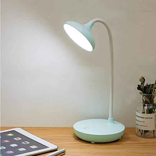 WWWL Lámpara de escritorio ajustable regulable luz de lectura plegable giratoria interruptor táctil LED lámpara de mesa USB lámpara de escritorio de carga