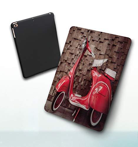 Funda para iPad 9,7 Pulgadas, 2018/2017 Modelo, 6ª / 5ª generación,Vintage Retro Motocicleta Scooter nostálgico Delante de la Pared de tráfico de vehíc Smart Leather Stand Cover with Auto Wake/Sleep