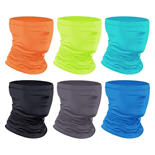 [6-Pack] Neck Gaiter Scarf, Breathable Bandana Cooling Neck Gaiter for Men Women Cycling Hiking Fishing.
