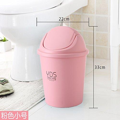 Bacs à ordures extérieurs fuckluyLes innovatrices et Cuisine Toilettes Dispose d'une Couverture Chambre Salon et Rose 22 * 33cm