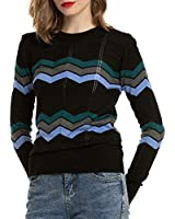 MessBebe Women's Lightweight Sweaters Zigzag Slim Fit Sweater for Petite Women Thin Fitting Soft Pullover Long Sleeve