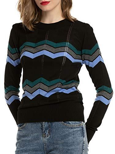 MessBebe Camiseta Mujer Jerseys Rayas Manga Larga Punto de Camisa Suave Sueters Ligeros para Primavera Verano Otoño Invierno