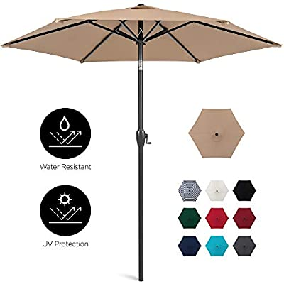 Best Choice Products 7.5ft Heavy-Duty Outdoor Market Patio Umbrella w/Push Button Tilt, Easy Crank Lift, Tan