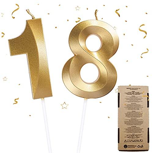 Velas de Cumpleaños 18, Velas de Pastel de Cumpleaños - Cake Topper Decoracion para Tartas de Cumpleaños, 2 Piezas Velas de Números para Fiesta de Cumpleaños Boda Aniversario Celebración (Número 18)