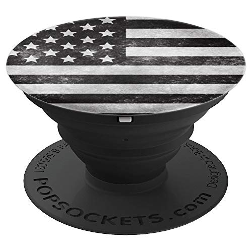 Distressed Black and White USA Flag Phone Popper PopSockets Grip and Stand for Phones and Tablets