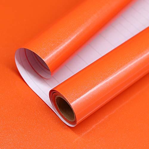 Papel Adhesivo para Muebles Naranja 40cm X 3m Vinilo Pegatina Autoadhesivo Decoración De La Pared Gabinetes De Cocina Escritorio Cajón DIY Pegatina (Naranja)