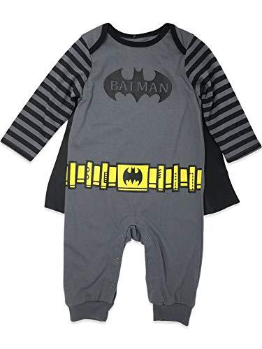 Warner Bros. Batman Baby Jungen Kostüm Overall mit Umhang, Grau / Schwarz (3-6M)