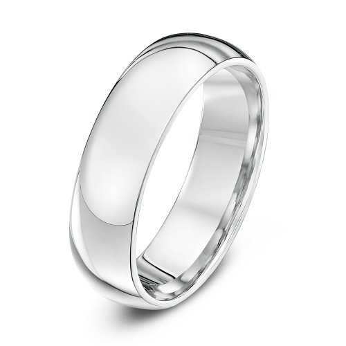 Theia Unisex Super Heavy Court Shape Polished 9 ct White Gold Wedding Ring, 6 mm - Size W