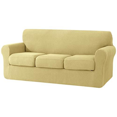 Su Subrtex - Copridivano a 3 posti, con 3 federe separate, per divano, protezione antiscivolo per mobili, colore: giallo chiaro
