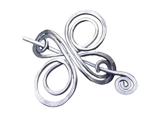 Celtic Knot Cross Infinite Swirl Aluminum Shawl Pin, Sweater Brooch Handmade in Oregon Knitters Gift