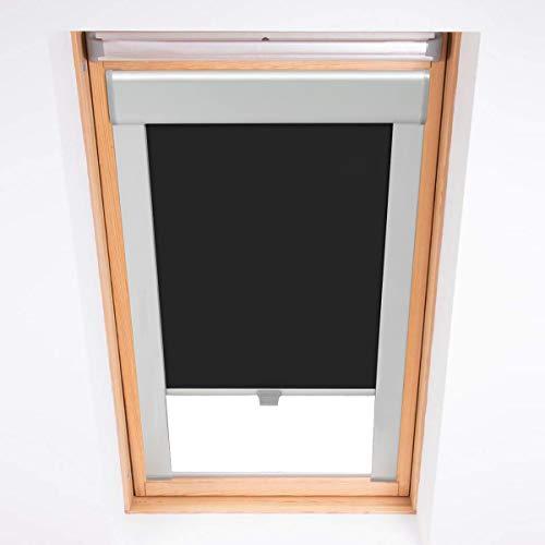KINLO Dachfensterrollo Verdunkelungsrollo Thermo Sonnenschutz für Velux Fenstersysteme Dachfenster Verschiedene Größen Fenstertypen : GGL, GPL, GHL, GTL, GXL (204-50.7x77.4cm, Schwarz)