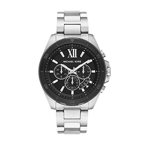 Michael Kors Men's Brecken Quartz Watch with Stainless Steel Strap, Silver, 22 (Model: MK8847)