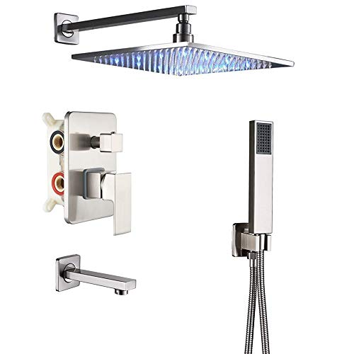 """Rozin 3-way Mixer LED Color 12"""" Top Rain Shower Tub Spout Tap with Handheld Spray Brushed Nickel"""
