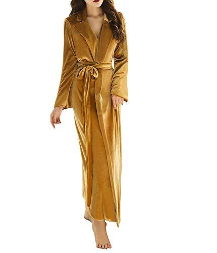 Kelaixiang Damen Langer Bademantel Fuzzy Samt Warm Roben für Winter Plüsch Schal - Gold - Medium