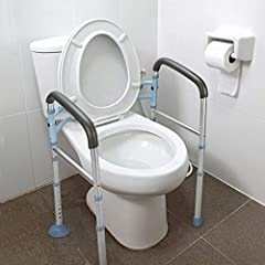 ❤️【Secure, Easy to Use】Our Toilet Safety Frame is FDA cleared, the highest standard in medical Bathroom Toilet Rail; Tool-Free, Easy to assemble in 2 minutes; much quicker than the competition. ❤️【Sitting and Rising Aid】This free-standing bathroom sa...