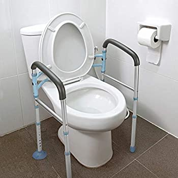 OasisSpace Stand Alone Toilet Safety Rail - Heavy Duty Medical Toilet Safety Frame for Elderly Handicap and Disabled - Adjustable Bathroom Toilet Handrails Grab Bar Fit Any Toilet