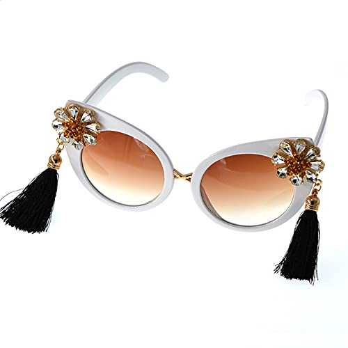 CJJCJJ Gafas de Sol de Flores de Gran tamaño para Mujer gradiente de Ojo de Gato Gafas para Viajes al Aire Libre Gafas para Fiesta en la Playa