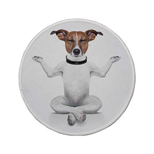 Rutschfreies Gummi-rundes Mauspad Hundeliebhaber-Dekor Yoga-Hundesitzen entspannt mit geschlossenen Augen Meditation Lebensstil Lifestyle Fitness Joy Exercise Comic 7.9