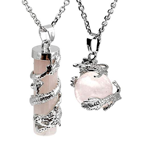 collar de Mujer pequeña joyería Bolsa de Larga esférica Joya Cilindro de Cristal Colgante Regalo Conjunto de W/Cajas de Regalo, Color: Ojo de Tigre Naturales