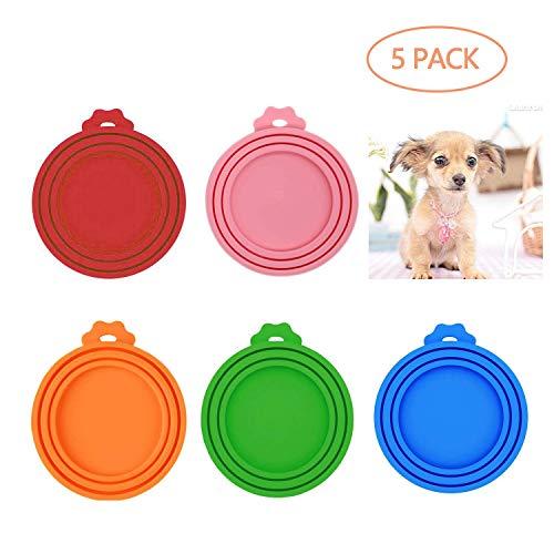 LABOTA 5 Stück Deckel für Dosenfutter Silikon Tiernahrung können Abdeckungen Hund Katzenfutter kann Abdeckung - Ø 6,5/ 7,5 / 8,5 cm
