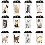 Youngever 72 Sets Disposable Coffee Cups with Lids, To Go Hot Coffee Cups, Durable Paper Cups with Lids, Cat Kitten Theme Design