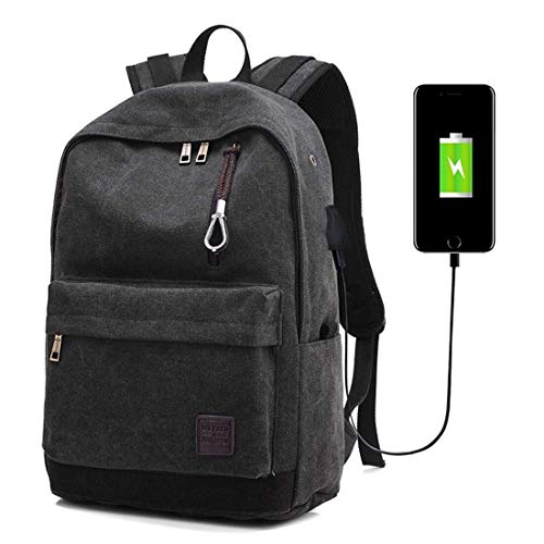 SYyshyin Outdoor Backpack WARM Home Convenient Travel Multi-Function Casual Canvas Backpack Students Bag With External USB Charging Interface & Headphone Jack Vacation (Color : Black)