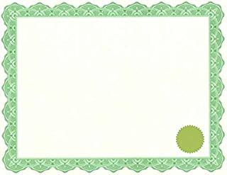 Geographics Optima Green Certificates with Gold Foil Seals, 8.5 x 11