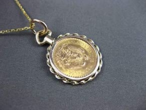 14KT & 22KT YELLOW GOLD HANDCRAFTED DOS Y MEDIO PESOS COIN PENDANT #24119