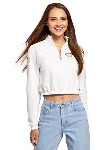 oodji Ultra Mujer Jersey Recortado con Cremallera en el Cuello Alto, Blanco, ES 42 / L
