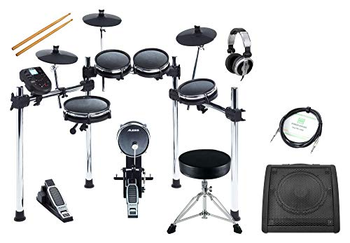 Alesis Surge Mesh Kit Deluxe Set (Flüsterleises, 8-teiliges E-Drum Kit mit Meshheads, Fußmaschine, Rack & Sticks, im Deluxe Set inkl. Drum Monitor, DJ-Kopfhörer, Drumhocker & Instrumentenkabel)