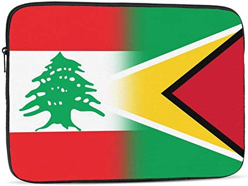 Lebanon and Jamaican Flag Laptop Sleeve Bag Compatible with 10-17 Inch Cute Computer Bag Laptop Case-Lebanon And Guyana Flag,15inch